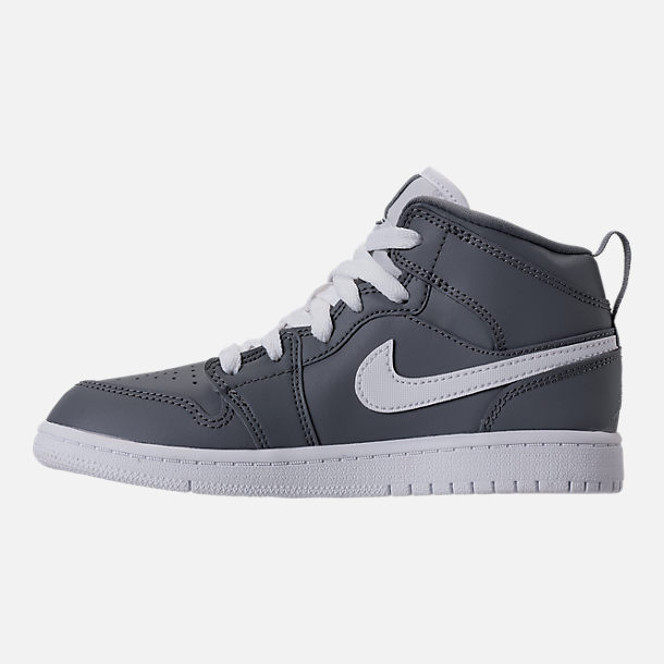 Left view of Kids' Preschool Air Jordan 1 Mid Basketball Shoes in Cool Grey/White/White