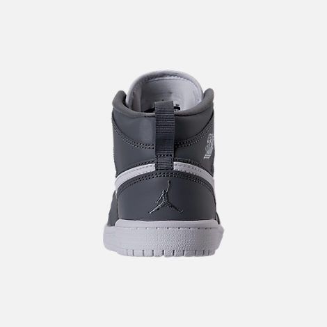 Back view of Kids' Preschool Air Jordan 1 Mid Basketball Shoes in Cool Grey/White/White