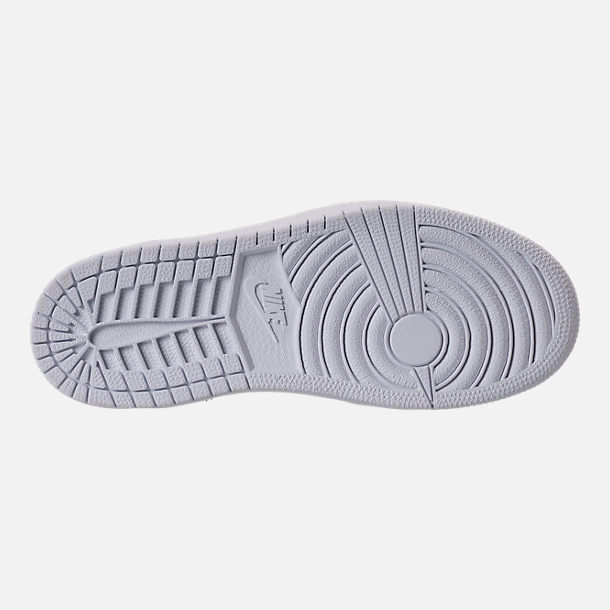 Bottom view of Kids' Preschool Air Jordan 1 Mid Basketball Shoes in Cool Grey/White/White