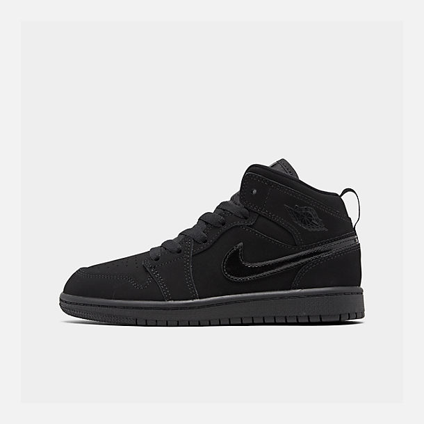 Right view of Little Kids' Air Jordan 1 Mid Basketball Shoes in Black/Black/Black
