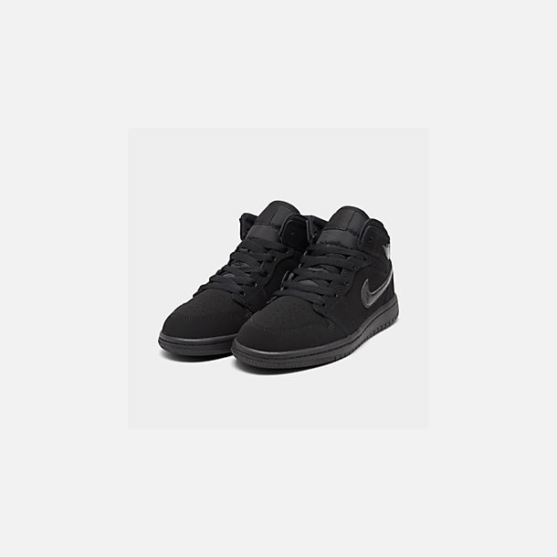 Three Quarter view of Little Kids' Air Jordan 1 Mid Basketball Shoes in Black/Black/Black