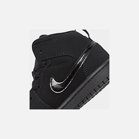 Front view of Little Kids' Air Jordan 1 Mid Basketball Shoes in Black/Black/Black