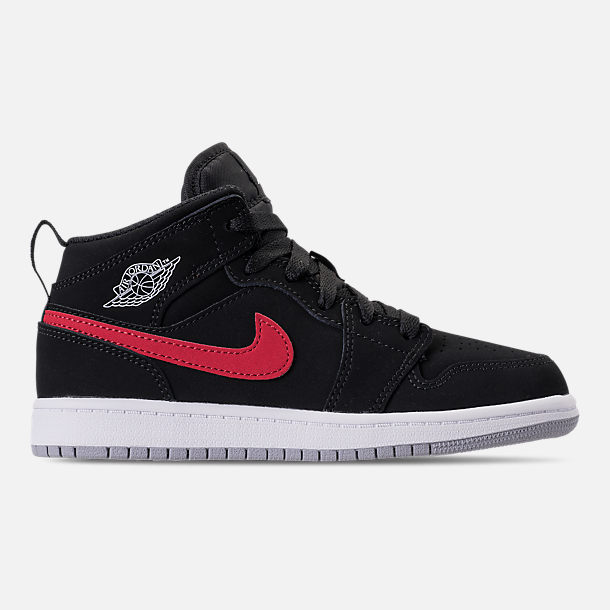 Right view of Kids' Preschool Air Jordan 1 Mid Basketball Shoes in Black/Varsity Red/Varsity Royal/White