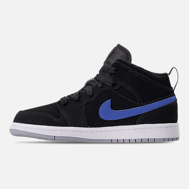 Left view of Kids' Preschool Air Jordan 1 Mid Basketball Shoes in Black/Varsity Red/Varsity Royal/White