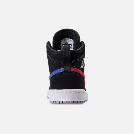 Back view of Kids' Preschool Air Jordan 1 Mid Basketball Shoes in Black/Varsity Red/Varsity Royal/White