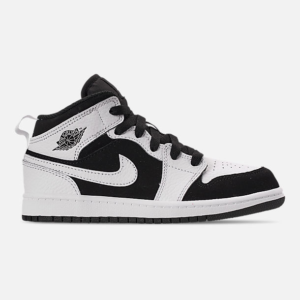 Right view of Little Kids' Air Jordan 1 Mid Basketball Shoes in White/Black/White