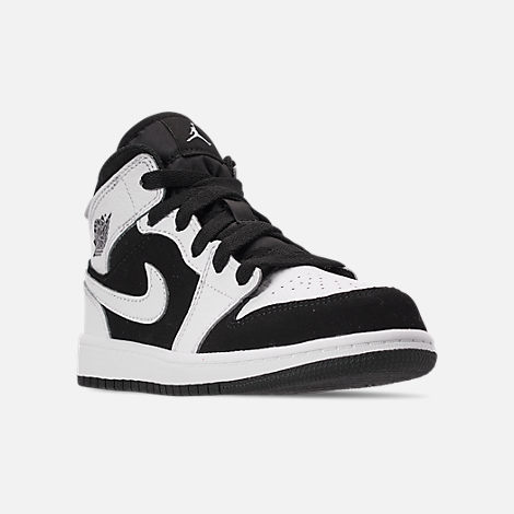 Three Quarter view of Little Kids' Air Jordan 1 Mid Basketball Shoes in White/Black/White