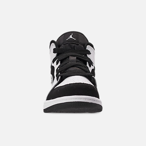 Front view of Little Kids' Air Jordan 1 Mid Basketball Shoes in White/Black/White