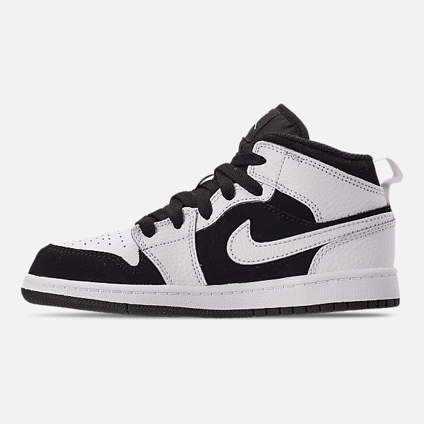 Left view of Little Kids' Air Jordan 1 Mid Basketball Shoes in White/Black/White
