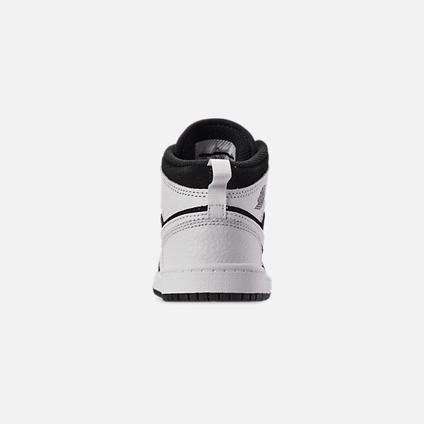 Back view of Little Kids' Air Jordan 1 Mid Basketball Shoes in White/Black/White