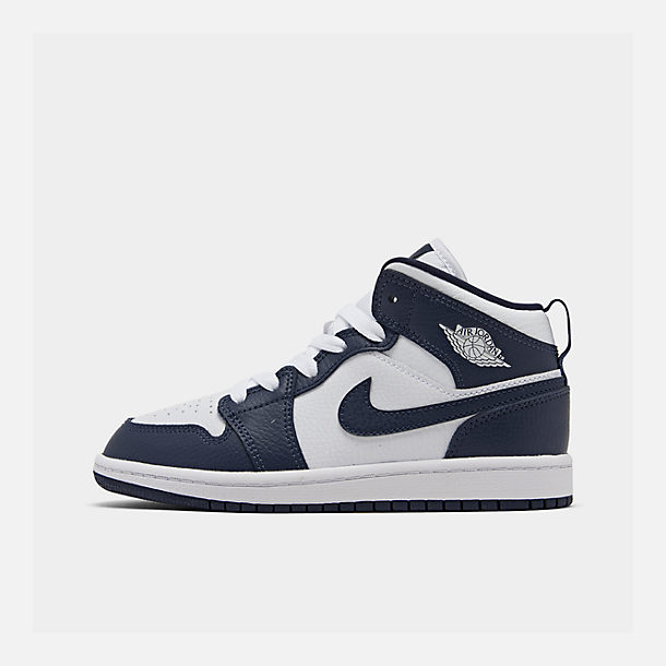 Right view of Little Kids' Air Jordan 1 Mid Basketball Shoes in White/Metallic Gold/Obsidian