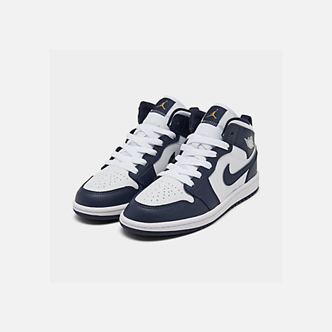 Three Quarter view of Little Kids' Air Jordan 1 Mid Basketball Shoes in White/Metallic Gold/Obsidian