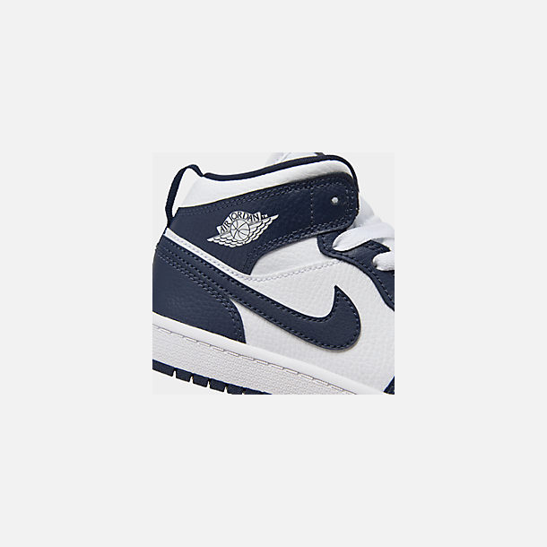 Front view of Little Kids' Air Jordan 1 Mid Basketball Shoes in White/Metallic Gold/Obsidian