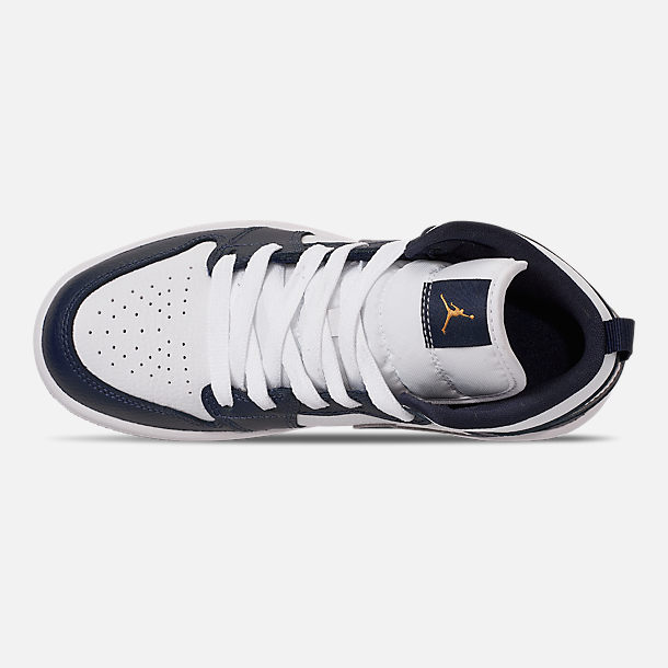 Top view of Little Kids' Air Jordan 1 Mid Basketball Shoes in White/Metallic Gold/Obsidian