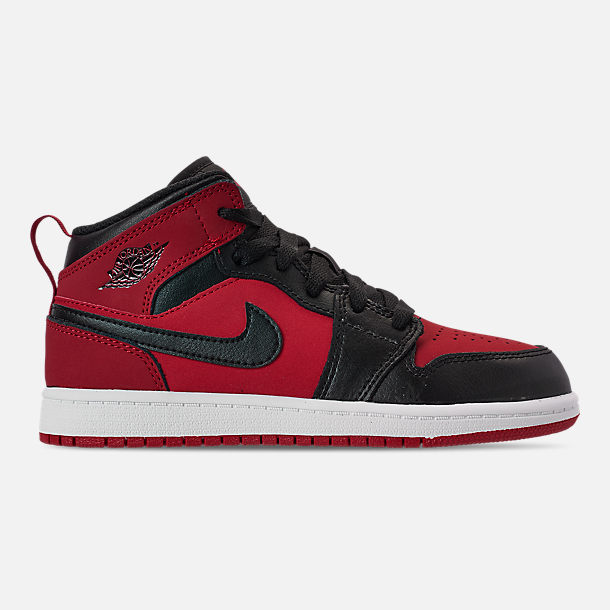 purchase cheap 5da97 db1a5 Right view of Little Kids  Air Jordan 1 Mid Basketball Shoes in Gym Red