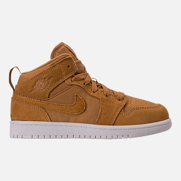 Right view of Kids' Preschool Air Jordan 1 Mid Basketball Shoes in Golden Harvest/Sail