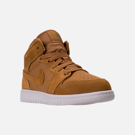 Three Quarter view of Kids' Preschool Air Jordan 1 Mid Basketball Shoes in Golden Harvest/Sail
