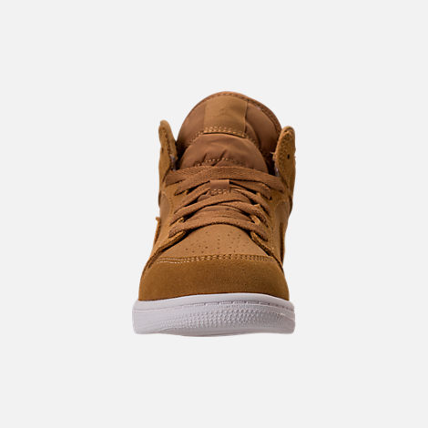 Front view of Kids' Preschool Air Jordan 1 Mid Basketball Shoes in Golden Harvest/Sail