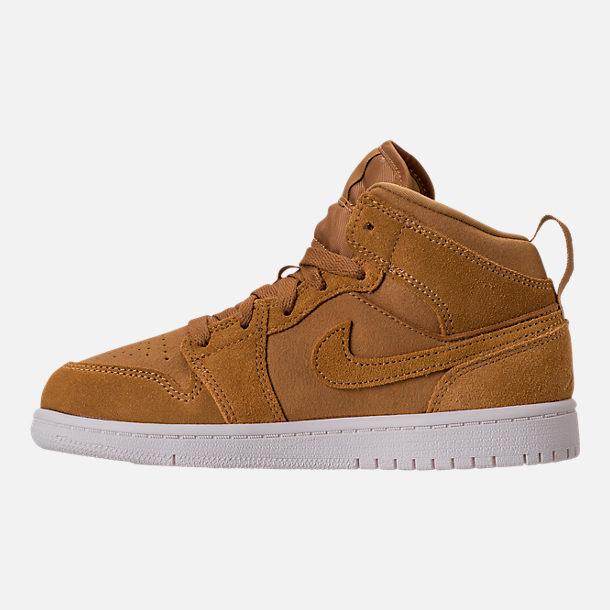 Left view of Kids' Preschool Air Jordan 1 Mid Basketball Shoes in Golden Harvest/Sail