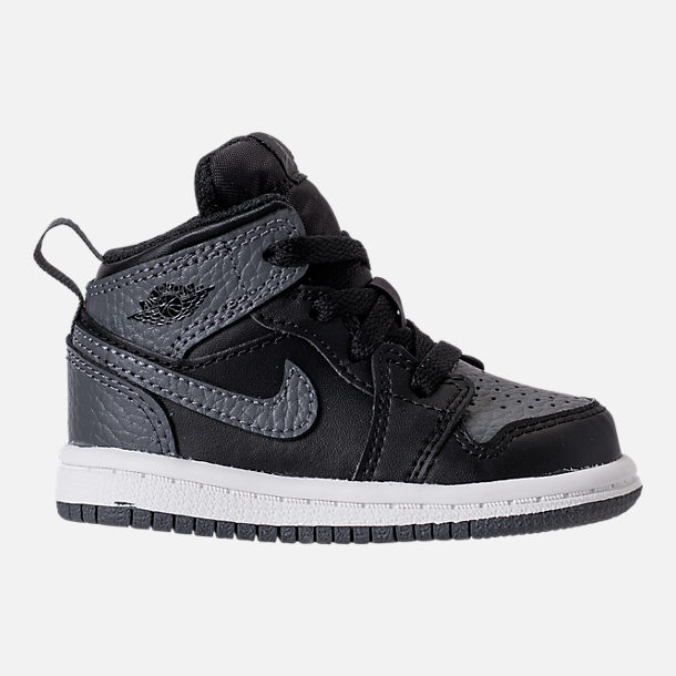 Right view of Kids' Toddler Air Jordan 1 Mid Retro Basketball Shoes in Black/Dark Grey/Summit White
