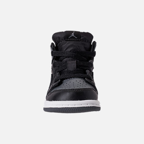Front view of Kids' Toddler Air Jordan 1 Mid Retro Basketball Shoes in Black/Dark Grey/Summit White