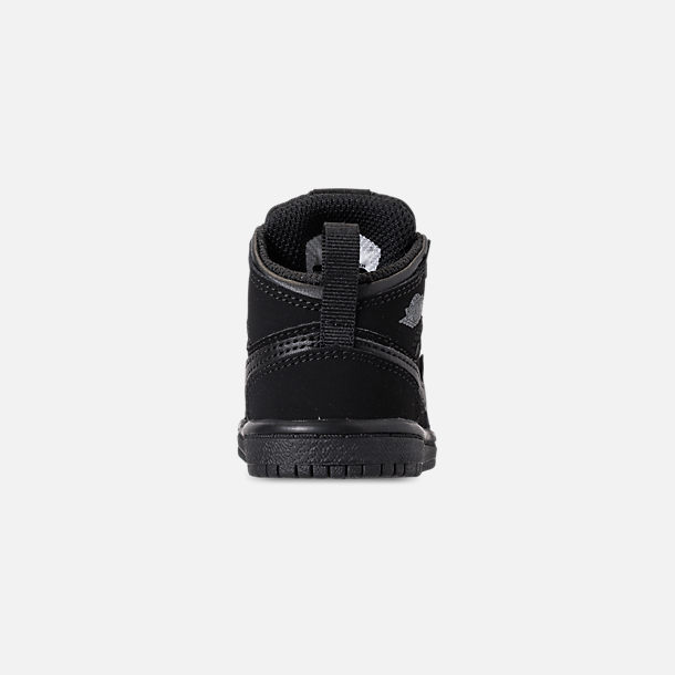 313908a25373 Back view of Kids  Toddler Air Jordan 1 Mid Retro Basketball Shoes in Black