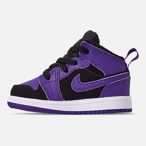 Left view of Kids' Toddler Air Jordan 1 Mid Retro Basketball Shoes