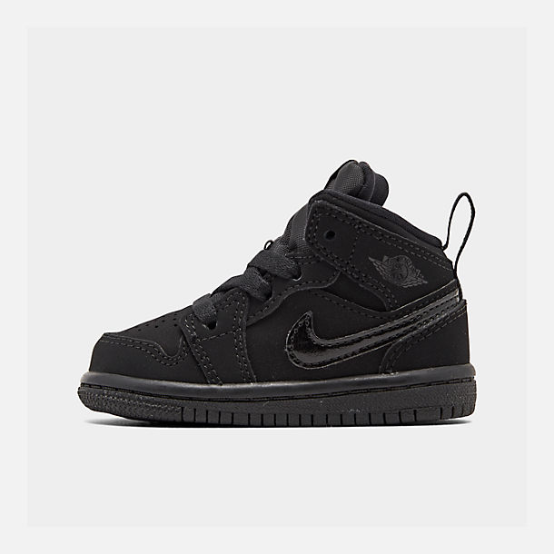 Right view of Kids' Toddler Air Jordan 1 Mid Retro Basketball Shoes in Black/Black/Black