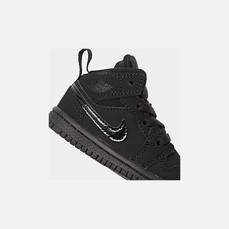 Front view of Kids' Toddler Air Jordan 1 Mid Retro Basketball Shoes in Black/Black/Black