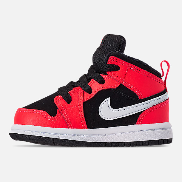 a867d0780ef Left view of Kids' Toddler Air Jordan 1 Mid Retro Basketball Shoes in Black/