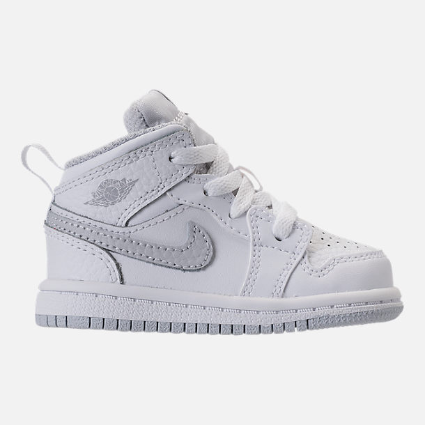 Right view of Kids' Toddler Air Jordan 1 Mid Retro Basketball Shoes in White/Pure Platinum/White