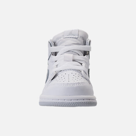Front view of Kids' Toddler Air Jordan 1 Mid Retro Basketball Shoes in White/Pure Platinum/White