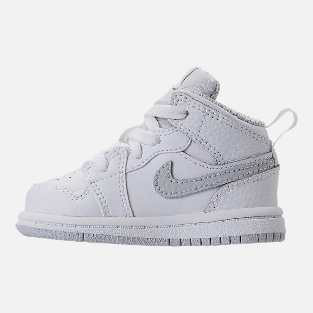 Left view of Kids' Toddler Air Jordan 1 Mid Retro Basketball Shoes in White/Pure Platinum/White
