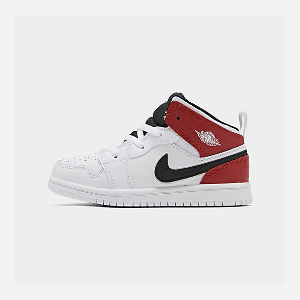 Right view of Kids' Toddler Air Jordan 1 Mid Retro Basketball Shoes in White/Black/Gym Red