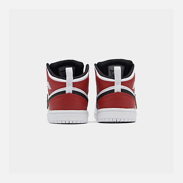 Left view of Kids' Toddler Air Jordan 1 Mid Retro Basketball Shoes in White/Black/Gym Red