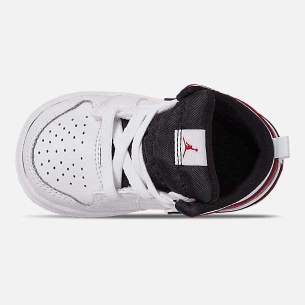 Top view of Kids' Toddler Air Jordan 1 Mid Retro Basketball Shoes in White/Black/Gym Red