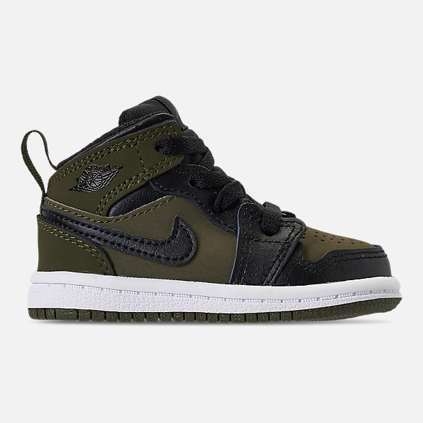 668a51e1a864 Right view of Kids  Toddler Air Jordan 1 Mid Retro Basketball Shoes in  Olive Canvas
