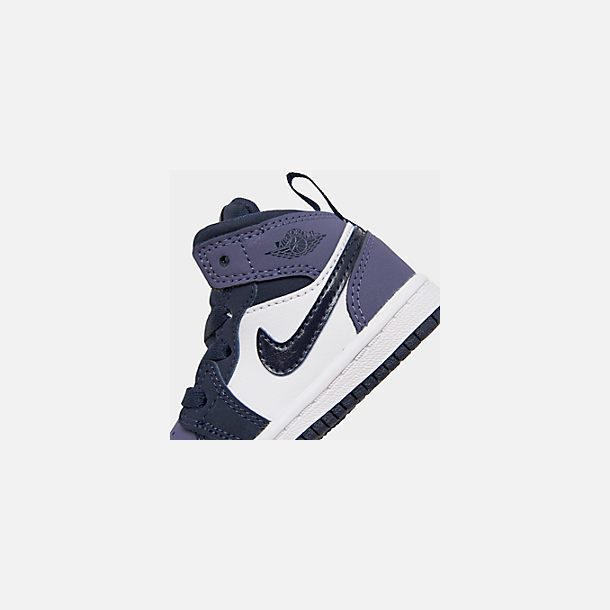 Front view of Kids' Toddler Air Jordan 1 Mid Retro Basketball Shoes in Obsidian/Obsidian/Sanded Purple/White