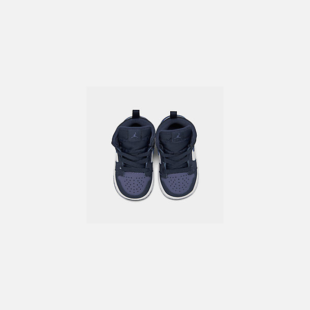 Back view of Kids' Toddler Air Jordan 1 Mid Retro Basketball Shoes in Obsidian/Obsidian/Sanded Purple/White