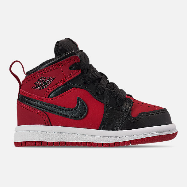 buy online 5de04 9d4ae Right view of Kids  Toddler Air Jordan 1 Mid Retro Basketball Shoes in Gym  Red