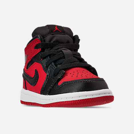 Three Quarter view of Kids  Toddler Air Jordan 1 Mid Retro Basketball Shoes  in Gym 0874155eeed6
