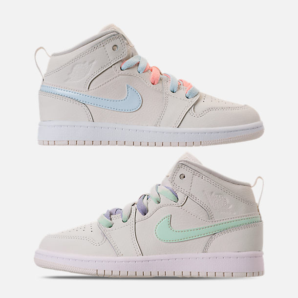 Right view of Girls' Little Kids' Air Jordan 1 Mid Basketball Shoes in Phantom/Igloo/Purple Rise/Blue Tint