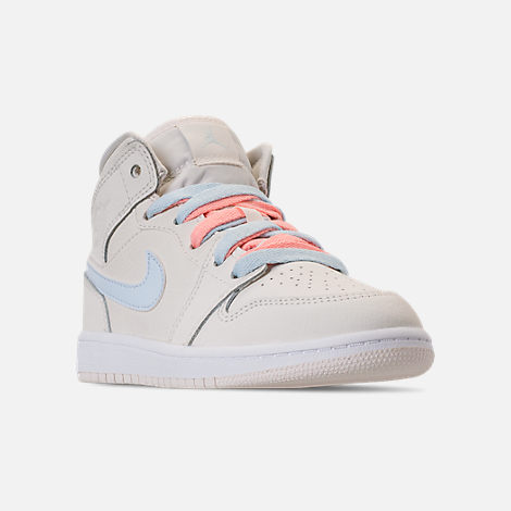 Three Quarter view of Girls' Little Kids' Air Jordan 1 Mid Basketball Shoes in Phantom/Igloo/Purple Rise/Blue Tint