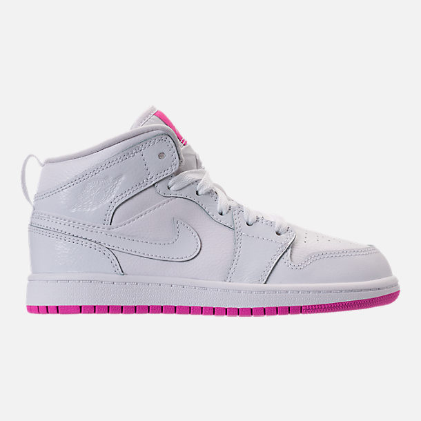 Right view of Girls' Preschool Air Jordan 1 Mid Basketball Shoes in White/Fuchsia Blast