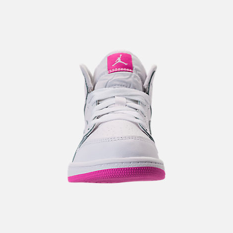 Front view of Girls' Preschool Air Jordan 1 Mid Basketball Shoes in White/Fuchsia Blast
