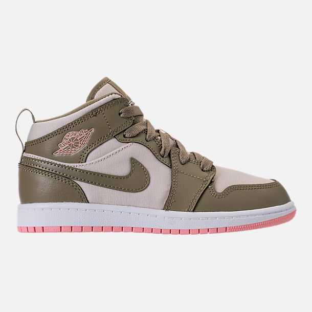 Right view of Girls' Preschool Air Jordan 1 Mid Basketball Shoes in Trooper/Bleached Coral/Light Orewood