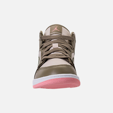 Front view of Girls' Preschool Air Jordan 1 Mid Basketball Shoes in Trooper/Bleached Coral/Light Orewood