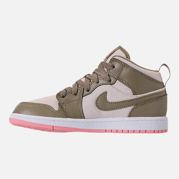 Left view of Girls' Preschool Air Jordan 1 Mid Basketball Shoes in Trooper/Bleached Coral/Light Orewood