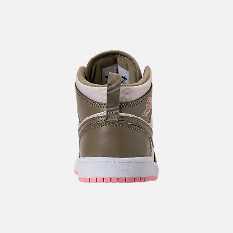 Back view of Girls' Preschool Air Jordan 1 Mid Basketball Shoes in Trooper/Bleached Coral/Light Orewood