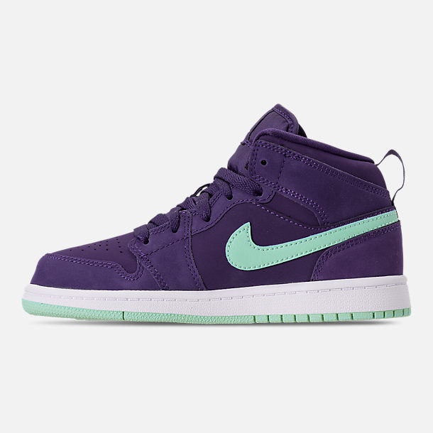 Left view of Girls' Little Kids' Air Jordan 1 Mid Casual Shoes in Ink/Emerald Rise/White